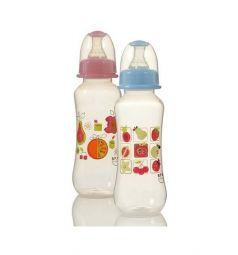 Бутылочка Ням-Ням для кормления пластик с рождения, 240 мл, цвет: розовый