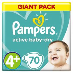 Подгузники Pampers Active Baby-Dry Maxi+ (10-15 кг), 70шт.
