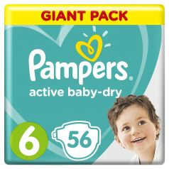 Подгузники Pampers Active Baby-Dry Extra Large (13-18 кг), 56шт.