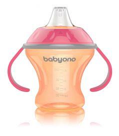 Кружка-непроливайка BabyOno с мягким носиком, оранжевая, 180мл