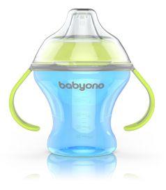 Кружка-непроливайка BabyOno с мягким носиком, голубая, 180мл