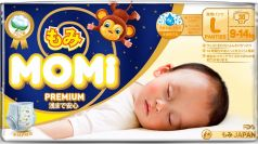 Подгузники-трусики Momi Premium Night L (9-14кг), 30шт.