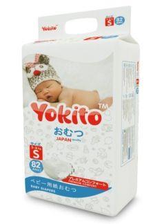 Подгузники на липучках Yokito Premium S (3-6кг), 82шт.