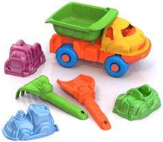 """Набор для песка Нордпласт: самосвал, совок, грабли, 3 формочки """"Машинки"""""""