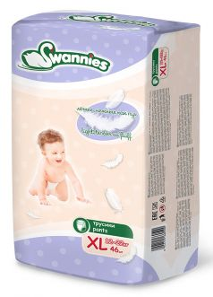 Подгузники-трусики Swannies XL 12-22кг, 46шт.