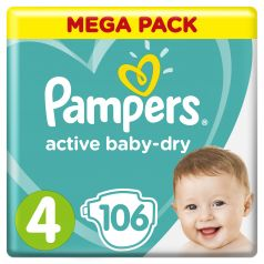 Подгузники Pampers Active Baby-Dry Maxi 4 (7-14кг), 106шт.