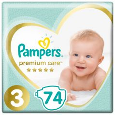 Подгузники Pampers Premium Care Midi (6-10 кг), 74шт.