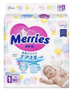 Японские подгузники Merries NB до 5кг, 90шт.