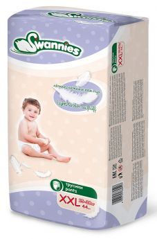Подгузники-трусики Swannies XXL 15-28кг, 44шт.
