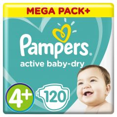 Подгузники Pampers Active Baby-Dry Maxi Plus 4+ (9-16, 10-15 кг), 120шт.