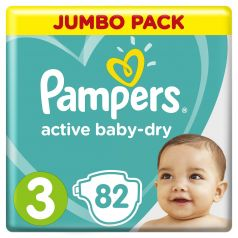 Подгузники Pampers Active Baby-Dry Midi 3 (5-9, 6-10кг), 82шт.