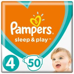 Подгузники Pampers Sleep & Play Maxi 4 (9-14кг), 50шт.