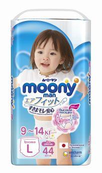 Японские подгузники-трусики Moony для девочек L, 9-14кг, 44шт.