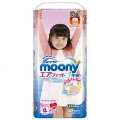 Японские подгузники-трусики Moony для девочек XL, 12-17кг, 38шт.