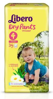 Трусики-подгузники Libero Dry Pants 4 (7-11кг), 34шт.