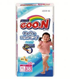 Японские подгузники-трусики Goon для девочек XL 12-20кг, 38шт.