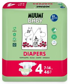 Подгузники Muumi Baby Maxi 4, 7-14 кг, 46шт.