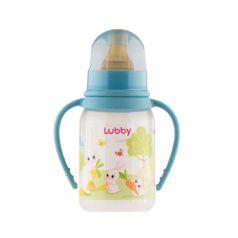 """Бутылочка с латексной соской Lubby """"Веселые животные"""" медленный поток с ручками, 125мл."""
