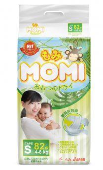 Японские подгузники Momi S (4-8кг), 82шт.