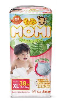 Японские трусики-подгузники Momi XL (12-20кг), 38шт.