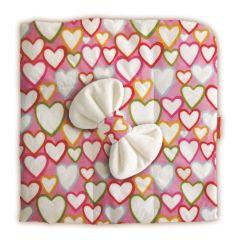 """Одеяло квадратное демисезонное Ququbaby """"Разноцветные сердца"""", с бантом, 100х100см"""