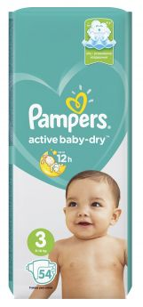 Подгузники Pampers Active Baby-Dry Midi 3 (5-9 кг), 54шт.