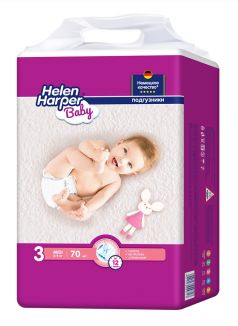 Подгузники Helen Harper Baby Midi, 4-9кг, 70шт.
