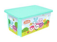 """Ящик для хранения игрушек Little Angel """"Малышарики"""" бирюзовый, 57л"""