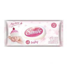Влажные детские салфетки Smile Baby New Born с пластиковым клапаном, 72шт.