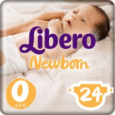 Подгузники Libero Newborn Size 0 (до 2,5кг), 24шт.