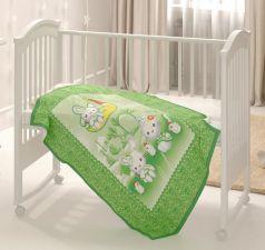 """Одеяло байковое Baby Nice """"Зайка на луне"""", 100х140см, зеленое"""