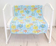 """Одеяло байковое Baby Nice """"Божья коровка на цветке"""", 100х140см, голубое"""