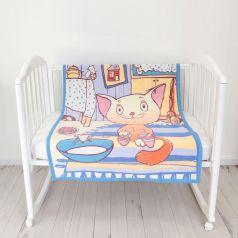 "Одеяло байковое Baby Nice ""Кот на кухне"", 100х140см, голубое"