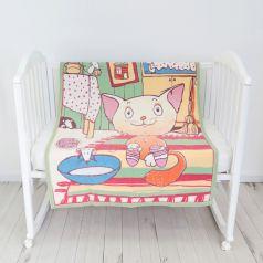 """Одеяло байковое Baby Nice """"Кот на кухне"""", 100х140см, салатовое"""