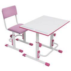 Растущая парта-трансформер Polini kids Simple М1, 75х55см, белый-розовый