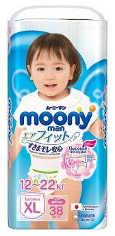 Японские трусики Moony Man для девочек XL, 12-22кг, 38шт.