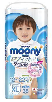 Японские трусики Moony Man для мальчиков XL, 12-22кг, 38шт.