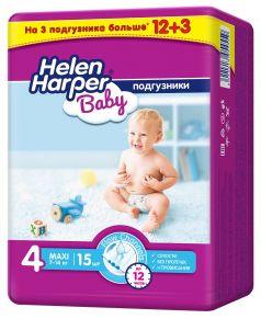 Подгузники Helen Harper Baby Maxi PROMO, 7-14кг, 15шт.