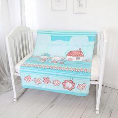 """Одеяло байковое Baby Nice """"Друзья на отдыхе"""", 100х140см, голубое"""