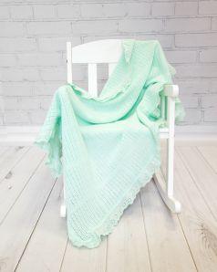 Одеяло Baby Nice вязаное с рюшами, 80х100см, мятное