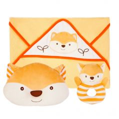 """Подарочный набор Жирафики """"Хитрый лисёнок"""": полотенце, погремушка и подушка"""