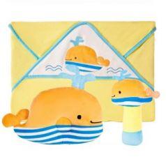 """Подарочный набор Жирафики """"Весёлый кит"""": полотенце, погремушка и подушка"""