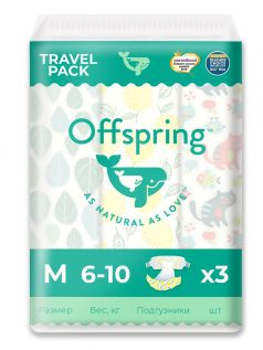 Подгузники Offspring Travel pack M, 6-10кг, 3шт.