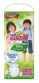 Японские подгузники-трусики Goon Cheerful Baby XXL 15-25кг, 34шт.