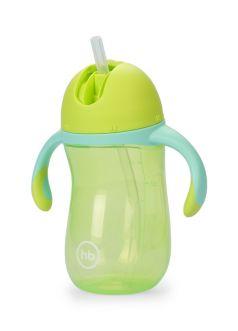 Поильник Happy Baby с трубочкой и ручками, зеленый, 260мл