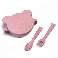 Набор ЭКО посуды Little Angel Bear: миска с крышкой, ложка и вилка, розовый