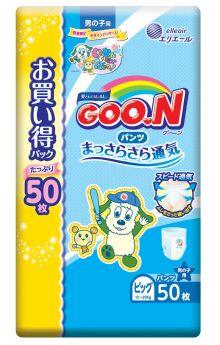 Японские подгузники-трусики Goon для мальчиков XL 12-20кг, 50шт.