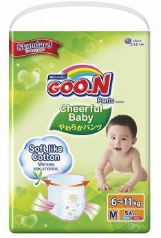 Японские подгузники-трусики Goon Cheerful Baby M (6-11кг), 54шт.