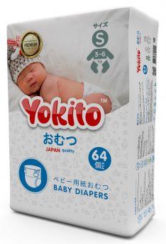 Подгузники на липучках Yokito Premium S (3-6кг), 64шт.