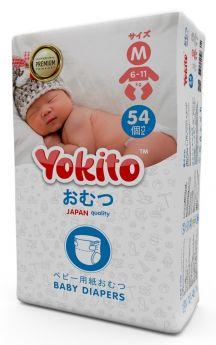Подгузники на липучках Yokito Premium M (6-11кг), 54шт.